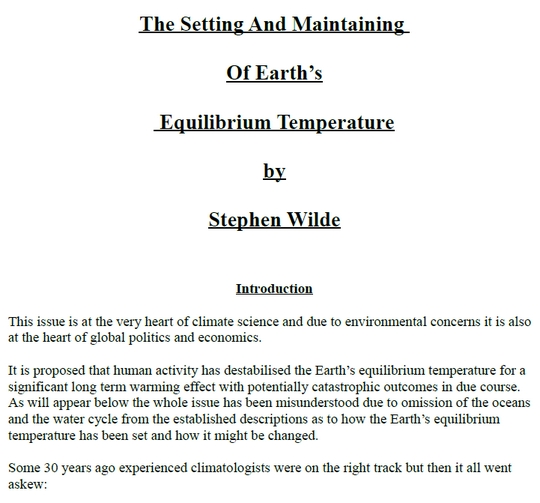 The Setting and Maintaining of Earth's Equilibrium Temperature